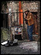 Railing Prints - Market Busker 6 Print by Tim Allen