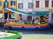 Italian Shopping Posters - Market Day in Venice Poster by Jenny Hudson