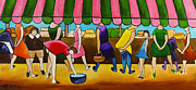 Market Day Under Pink Awning Print by William Cain