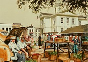 Farm Stand Painting Prints - Market Days Print by Michael Swanson