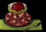 Stylized Food Posters - Market Fresh Pomegranate Fruit Poster by Inspired Nature Photography By Shelley Myke