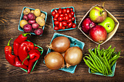 Containers Posters - Market fruits and vegetables Poster by Elena Elisseeva
