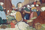 Daily Life Scene Framed Prints - Market in Brest Framed Print by Fernand Piet
