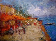 Abstract Expressionist Art - Market in Nafplion Greece by R W Goetting
