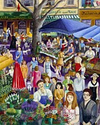 South Of France Paintings - Market in Provence by Colette Raker