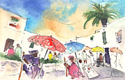 Shops Drawings Prints - Market in Teguise in Lanzarote 01 Print by Miki De Goodaboom