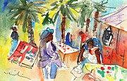 Shops Drawings Prints - Market in Teguise in Lanzarote 03 Print by Miki De Goodaboom