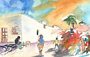 Shops Drawings Prints - Market in Teguise in Lanzarote 04 Print by Miki De Goodaboom