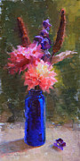 Cattail Paintings - Market Melody - Dahlias and Cattails by Karen Whitworth