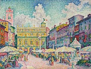 Street Markets Framed Prints - Market of Verona Framed Print by Paul Signac