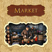 Marketplace Prints - Market place button Print by Mike Savad