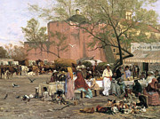 Crowd Scene Paintings - Market Plaza by Thomas Allen