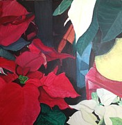 Poinsettias Paintings - Market Poinsettias by Sarah Bray