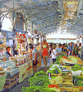 Crowd Scene Art - Market Scene In Antibes France by Ben and Raisa Gertsberg