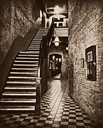 Stair Walk Prints - Market Square - BW Print by Marilyn Wilson