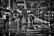Shoppers Framed Prints - Market Square in the Rain - Knoxville Tennessee Framed Print by David Patterson