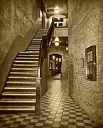 Stair Walk Prints - Market Square - sepia Print by Marilyn Wilson