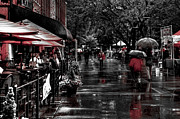 Market Square Shoppers - Knoxville Tennessee Print by David Patterson