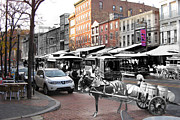 Philadelphia Street Framed Prints - Market Street in Old City Framed Print by Eric Nagy