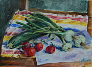 Nature Study Painting Originals - Market Study by Adin OLTEANU