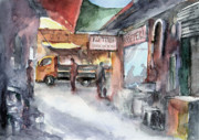 Bazaar Paintings - Marketplace in Urla by Faruk Koksal