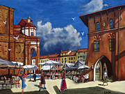 Italian Shopping Painting Posters - Marketplace Poster by William Cain