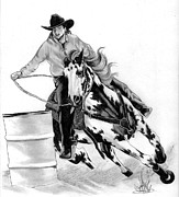 Rodeo Art Drawings - Marking Time by Cheryl Poland