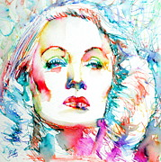 Marlene Framed Prints - MARLENE DIETRICH - colored pens portrait Framed Print by Fabrizio Cassetta