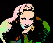 Marlene Framed Prints - Marlene Dietrich Pop Art Framed Print by Stefan Kuhn