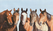 Chestnut Horse Paintings - Marlenes girls by Tina  Sander
