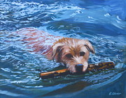 Dog Swimming Paintings - Marley Swimming by Elisabeth Olver
