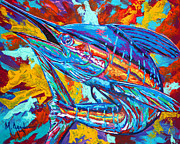Blue Tail Prints - Marlin Explosion Print by Maria Arango