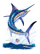 Striped Marlin Prints - Marlin leap Print by Carey Chen