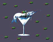 Sailfish Drawings Posters - Marlin Martini Poster by Karen Rhodes