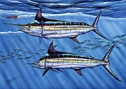 Striped Marlin Painting Posters - Marlins Twins Poster by Terry Fox