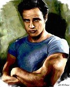Hollywood Paintings - Marlon Brando by Allen Glass