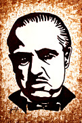 Marlon Brando Framed Prints - Marlon Brando in Godfather original coffee painting Framed Print by Georgeta Blanaru