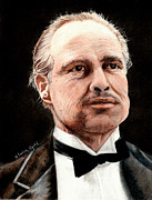 Awards Drawings - Marlon Brando - The Godfather by Linda Ginn