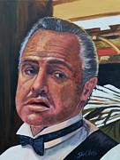 Stage Painting Originals - Marlon Brando - The Godfather by Shirl Theis