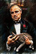 Gangster Drawings - Marlon Brando The Godfather by Viola El