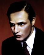 Fame Framed Prints - Marlon Brando Tribute Framed Print by Zeana Romanovna