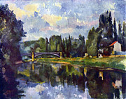 John Peter Posters - Marne Shore by Cezanne Poster by John Peter