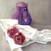 White Cloth Digital Art Posters - Marnies Jug Poster by Joan A Hamilton