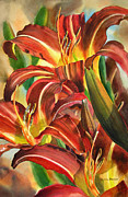 Lillies Painting Prints - Maroon and Gold Lilies Print by Sharon Freeman