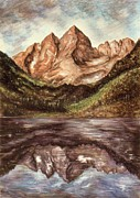 Rocky Mountains Drawings Prints - Maroon Bells - Colorado Landscape Print by Peter Art Prints Posters Gallery
