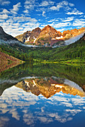 Colorado Aspen Prints - Maroon Bells Fog Attack Print by Darren  White