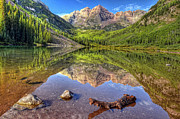 Mountains And Lake Posters - Maroon Bells Reflections Poster by Ken Smith