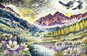 Burst Drawings Prints - Maroon Bells  Print by Scott and Dixie Wiley