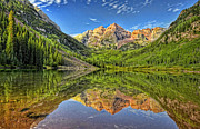 Maroon Bells Posters - Marron Bells Reflections Poster by Ken Smith