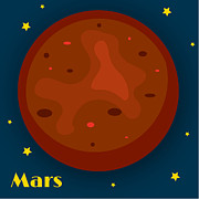 Outer Space Digital Art Metal Prints - Mars Metal Print by Christy Beckwith